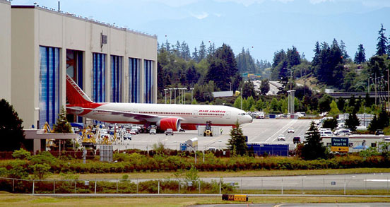 An Air India Boeing 777-200LR is rolled out of the Boeing Everett Factory.