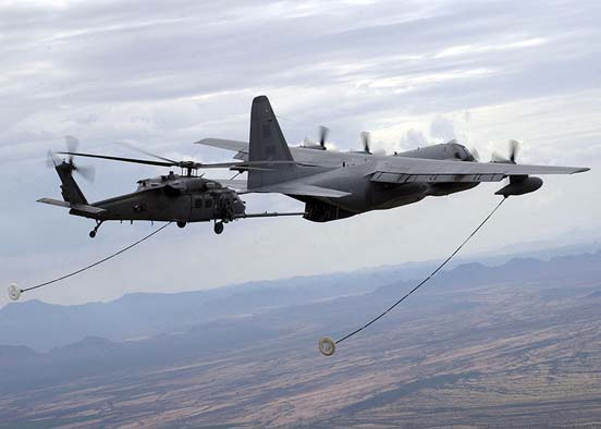 USAF HC-130P refuels an HH-60G Pavehawk helicopter