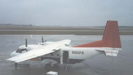 CASA C-212-200 of Northwest Airlink on scheduled flight at Flint, Michigan, in April 1986