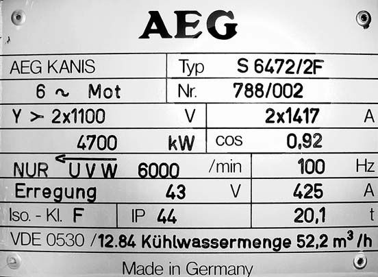 AEG electric motor builders plate.