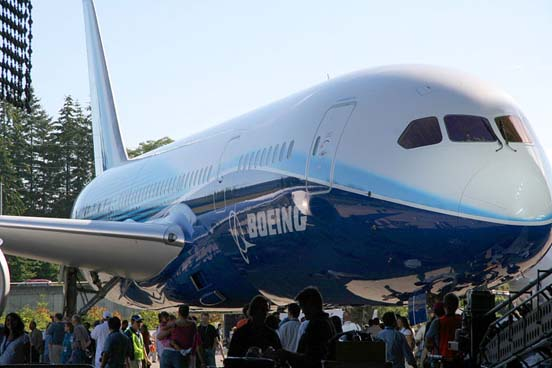 The first 787 Dreamliner at Boeing's Everett plant.