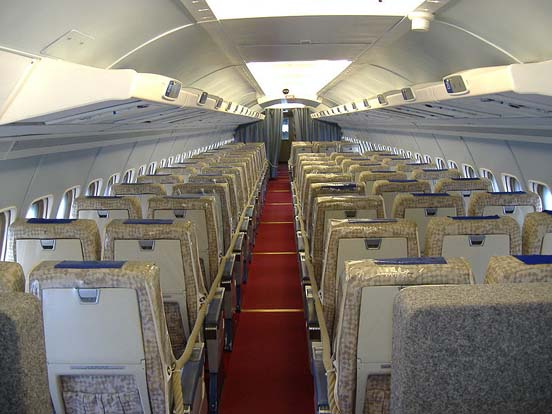 Interior of a Convair 990 operated by Swissair now on public display in the Swiss transport museum, the Verkehrshaus der Schweiz in Luzern.