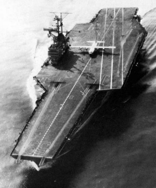 C-130 Hercules performing takeoffs and landings aboard the aircraft carrier USS Forrestal (CVA-59) in 1963. This aircraft is currently on display at the National Museum of Naval Aviation.