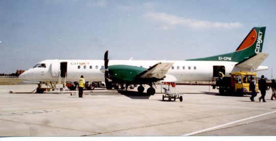 Saab 2000 of CityJet at Dublin operating a scheduled service to London City in August 1998