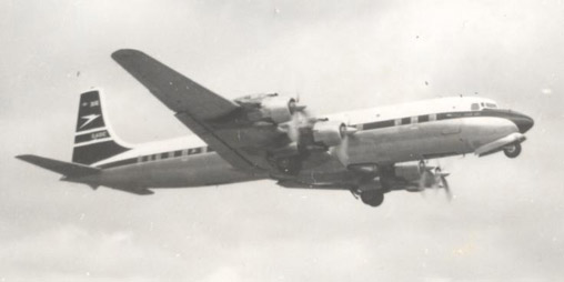 BOAC DC-7C G-AOIC taking off from Manchester UK in April 1958 for a non-stop flight to New York (Idlewild) (later JFK)