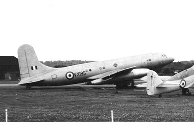 Avro Tudor 8 fitted with Nene jet engines at RAE Farnborough in September 1950