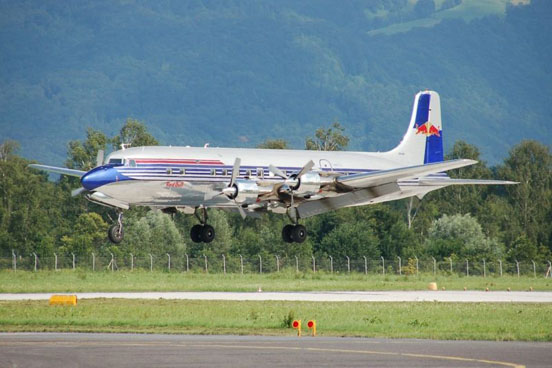 The Red Bull DC-6B landing at Salzburg