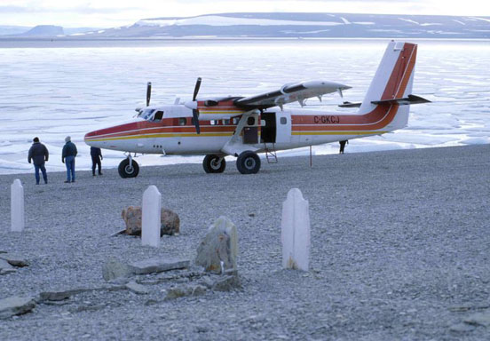 de Havilland Canada DHC-6 Twin Otter on Beechey Island at seamen graves of John Franklin expedition (Nunavut, Canada) c. 1997. Note the