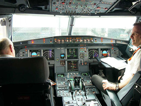 The Airbus A320 family is the first to fully feature the glass cockpit and digital fly-by-wire flight control system in a civil airliner. The only analogue instruments are the RMI (backup ADI on earlier models, replaced by digital ISIS on later models) and brake pressure indicator.