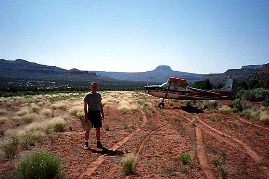 1960 Cessna 180 at White River Canyon, Utah, a remote airstrip