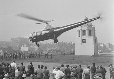 First airmail service by helicopter in Los Angeles, 1947