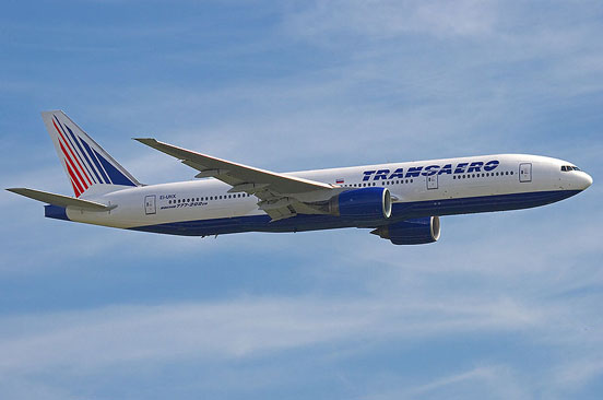Transaero 777-200ER in flight.