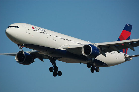 Delta Air Lines A330-300 landing at Amsterdam.