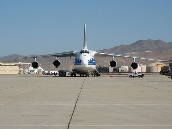 A Volga-Dnepr An-124 at Southern California Logistics Airport in Victorville, California