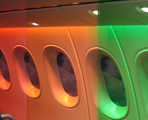 Composite photo showing three options for Dreamliner cabin LED lighting.