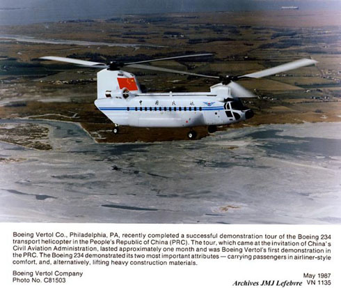 Boeing 234 flying in Civil Aviation Administration of China. Demonstration aircraft.