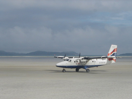 Loganair Twin Otter in British Airways Livery at Barra Airport