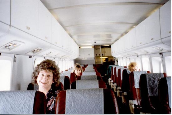 Cabin interior of Manx Airlines Short 360 showing 'box' structure and two-and-one seating layout