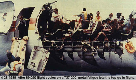 Aloha Airlines Flight 243 at Kahului Airport, after its fuselage was ripped apart during flight.