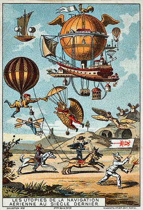 The human dream of flight: Utopian flying machines from the 18th Century (illustration from the late 19th Century).
