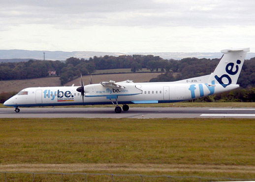 Flybe Q400 at Bristol Airport, Bristol, England.