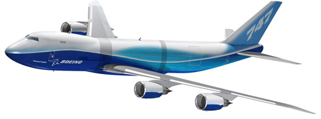 Artist's rendering of the Boeing 747-8F. The 747-8 is stretched in two bands for a total extension of 18.3 ft (5.6 m) over the 747-400.