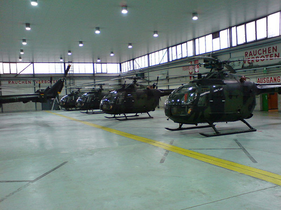 Bo 105s of the German Army in a hangar