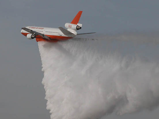 The 10 Tanker during a water drop demonstration