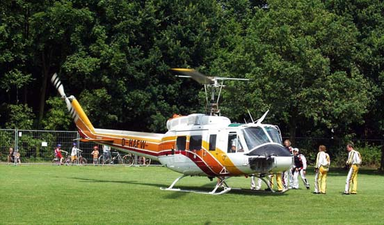 A Bell 205A-1, used for parachutists during World Games 2005, Duisburg, Germany for the parachuting-competitions.