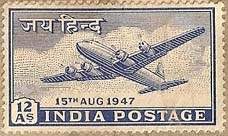 The Douglas DC-4 aircraft, is portrayed in one of the first stamps of independent India in 1947. This stamp was meant for foreign airmail.