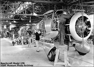 Assembly line at the beginning of Staggerwing production (note the fixed landing gear).