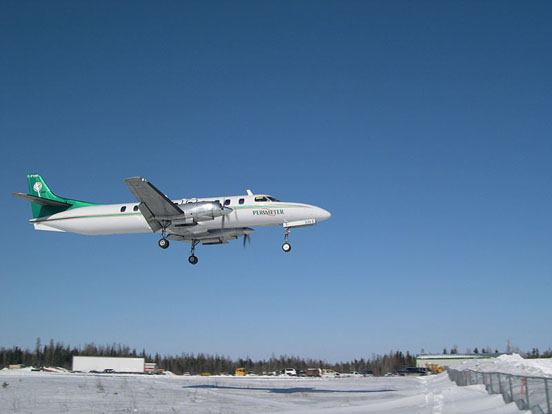 Perimeter Aviation C-FTNV SA226-TC Metro II landing at Tadoule Lake, Manitoba c.2006