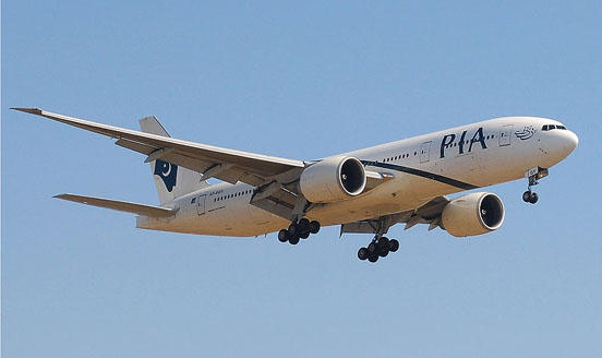 The first 777-200LR built, in service with Pakistan International Airlines.