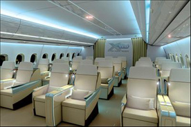 Interior mock-up of the Business Class Of the A350 XWB.
