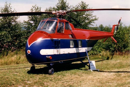 Sikorsky UH-19 at the Canadian Museum of Flight 1988.The aircraft is painted as it would have looked while working on the construction of the Mid-Canada Line