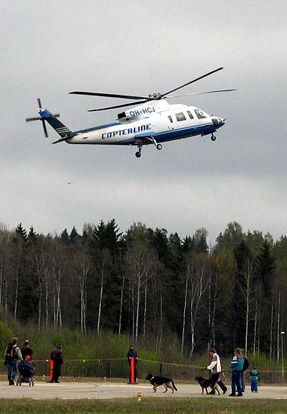 Copterline Helicopter taking off from Helsinki-Malmi airport