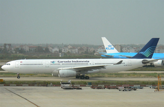 A Airbus A330-300 of Garuda Indonesia, the flag carrier of Indonesia.