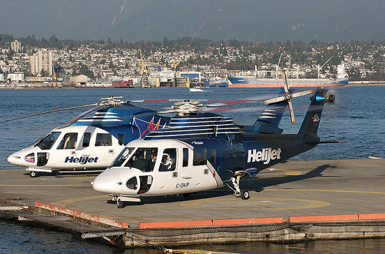 A pair of Helijet's Sikorsky S76's at Vancouver Harbour.
