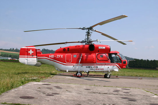 The heavy helicopter Kamov 32A12 HB-ZFX is operated jointly by Heliswiss and Helog