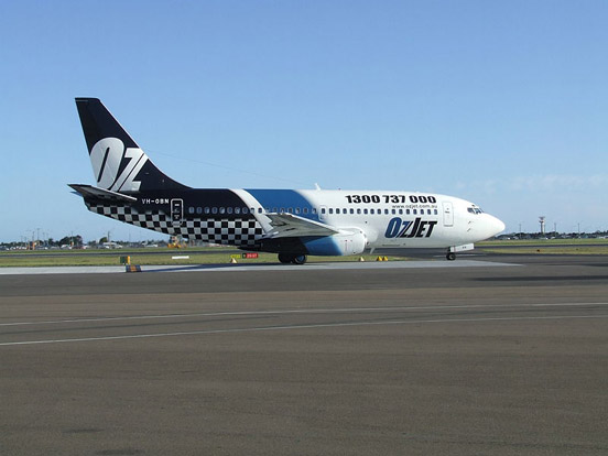 An OzJet Boeing 737 at Sydney Airport.