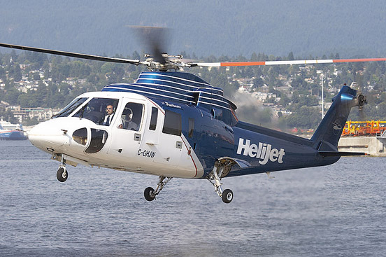 A HeliJet S76 comes in for a landing at Vancouver Harbour.