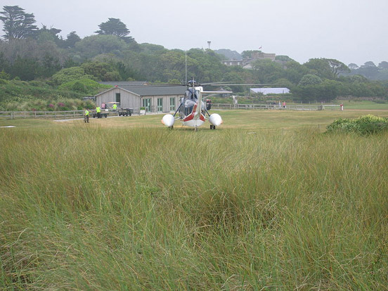 One of the company's Sikorsky S-61 helicopters at Tresco Heliport