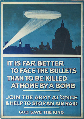 British recruiting poster capitalizing on the scare created by the bombing raids on London