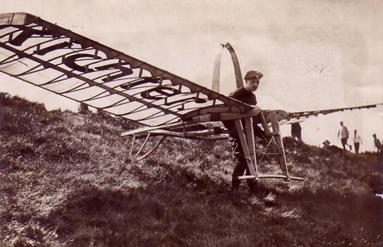 Hans Richter launching his glider. Germany, early 1920s.
