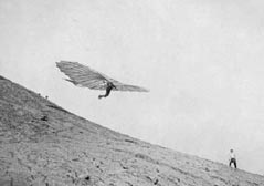 Engineer Otto Lilienthal, the father of aviation and of hang gliding. Germany, 1895.