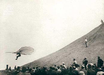 Otto Lilienthal, first documented controlled flights. Germany, 1895.
