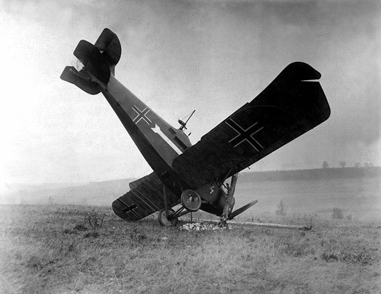 A German Hannover CL III shot down on October 4, 1918 by American machine gunners in the Argonne.