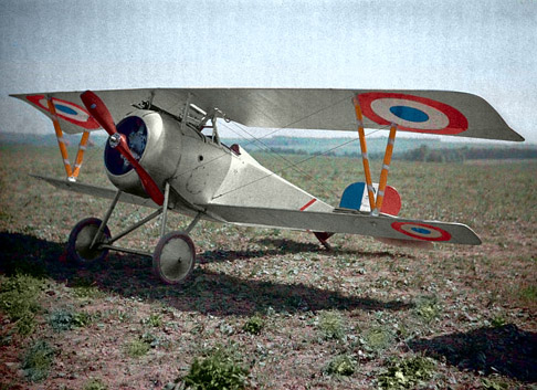 Color Autochrome Lumière of a Nieuport Fighter in Aisne, France 1917