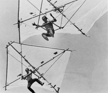 Brothers Chris and Bob Wills flying the Bamboo Butterfly. California, U.S.A. 1972