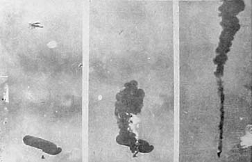 A German observation balloon being bombed by an allied aircraft.
